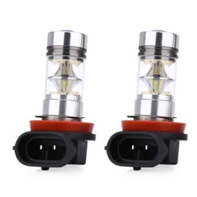 PAIR OF UNIVERSAL CAR H11 100W 6000K LED FOG LAMP DAYTIME RUNNING PURE WHITE LIGHT