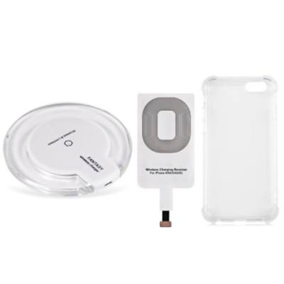 CRYSTAL CLEAR QI WIRELESS CHARGER + CHARGING RECEIVER + TRANSPARENT BACK COVER FOR IPHONE 6 / 6S (WHITE)