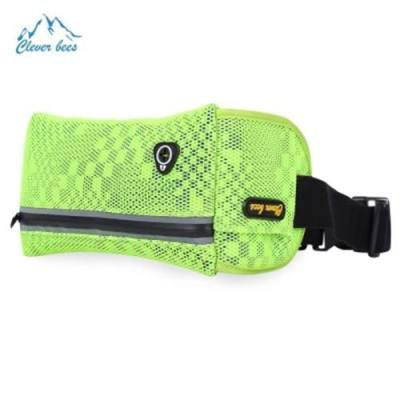 CLEVERBEES OUTDOOR HONEYCOMB SHAPE UNISEX RUNNING MESH WAIST PACK BUM BAG (NEON GREEN)