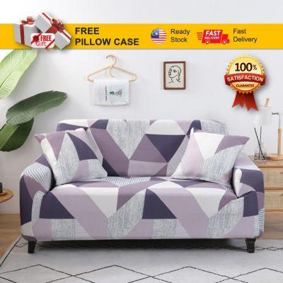 [ READY STOCK + FREE GIFT ] Sofa Covers Slips Purple Rain Sarung Sofa Couch Cover Free Pillow Case Home Decor Percuma Sarung Bantal Easy Elastic Universal For Most Modern Sofa Protector
