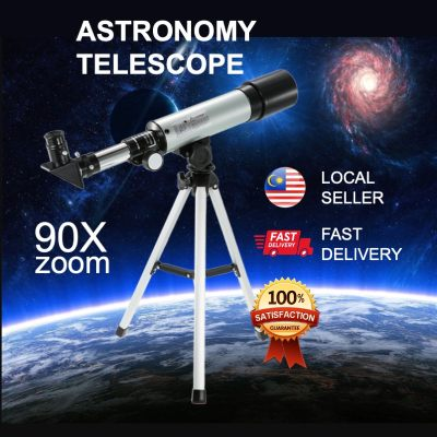 [READY STOCK BEST SELLER] Free Tripod Astronomy Telescope 90X Zoom Refractive Astronomical Planet Moon View Teleskop Sekolah School Science Space Outdoor Travel Camping Gift