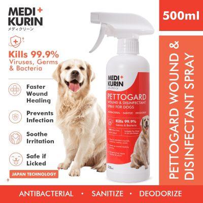 [ Local Ready Stocks] MEDI+KURIN HOCL PETTOGARD Wound & Disinfectant Spray For Dogs Semburan Luka Pembasmi Kuman Anjing 500ml