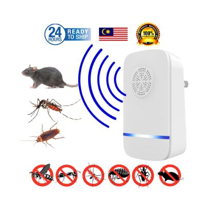 [ READY STOCK ] Ultrasonic Wave Pest Reject Electronic Mice Bug Cockroach Rat Mosquito Lipas Repeller Nyamuk Pest Control For Home Warehouses Child Safe