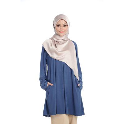 [ Local Ready Stocks ] LEANEN SURIA  BLOUSE V3 - BLUE | Pakaian Wanita Muslimah Labuh Sopan Women Blouse Muslimah ( Saiz XL-XXL )