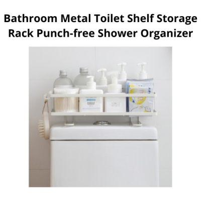 [ Local Ready Stocks ] Bathroom Metal Toilet Shelf Storage Rack Punch-free Shower Organizer ( White )