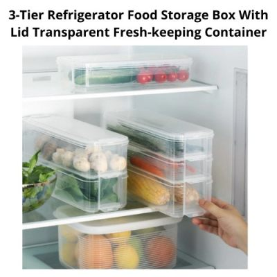 [ Local Ready Stocks ] 3-Tier Refrigerator Food Storage Box With Lid Transparent Fresh-keeping Container