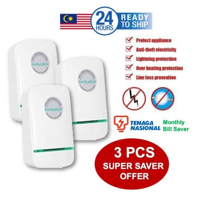 [ READY STOCK ] 3pcs Super Saver Promo Pack Jimat Bil Tenaga TNB Power Energy Electricity Saving Box 3 Pin plug Socket Power Factor Saver Device Household Electric Saver