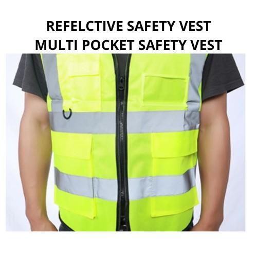 [STOCK READY] [ Local Ready Stocks ] Reflective Safety Vest High Visibility Safety Vest Clothing Multi Pockets Safety Vest Fluorescent Green Jaket Keselamatan