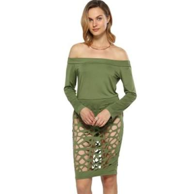 SEXY OFF THE SHOULDER HOLLOW OUT SHEATH DRESS FOR WOMEN (ARMY GREEN)