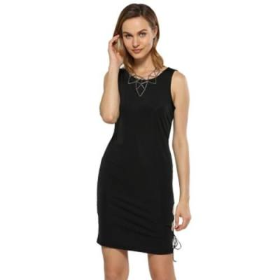 SEXY ROUND COLLAR SIDE HOLLOW OUT SHEATH BLACK DRESS FOR WOMEN (BLACK)