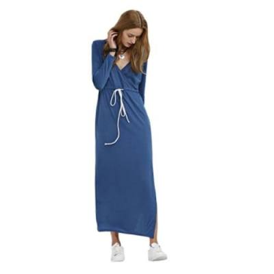 CASUAL PLUNGING NECK LONG SLEEVE DRAWSTRING SLIT DESIGN DRESS FOR LADIES (BLUE)