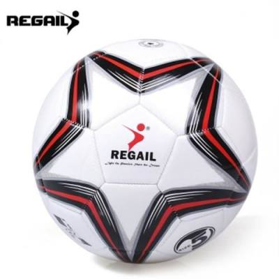 REGAIL SIZE 5 PU STAR TRAINING FOOTBALL SOCCER BALL (RED WITH BLACK)