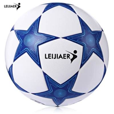 LEIJIAER SIZE 5 STAR TPU COMPETITION SOCCER FOOTBALL BALL (BLUE AND WHITE)
