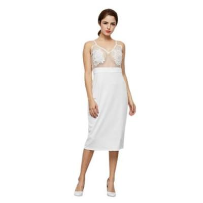 SEXY SPAGHETTI STRAP SEE-THROUGH BACKLESS PURE COLOR LACE DRESS FOR LADIES (WHITE)