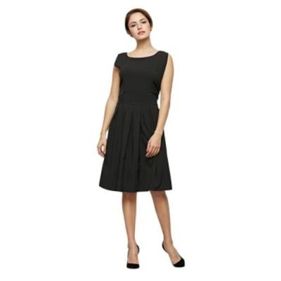 VINTAGE STYLE ROUND COLLAR SLEEVELESS PURE COLOR A-LINE DRESS FOR LADIES (BLACK)