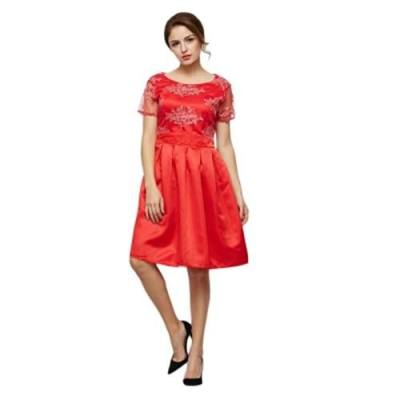 FASHION ROUND COLLAR SHORT SLEEVE FLORAL PRINT LACE SPLICED DRESS FOR LADIES (RED)