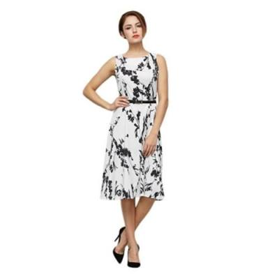 VINTAGE STYLE ROUND COLLAR SLEEVELESS FLORAL PRINT SHEATH DRESS WITH BELT FOR LADIES (BLACK)