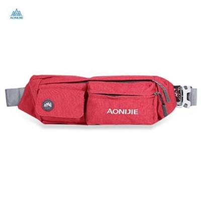 AONIJIE WATER RESISTANT RUNNING WAIST BAG ZIPPERED PACK (RED)