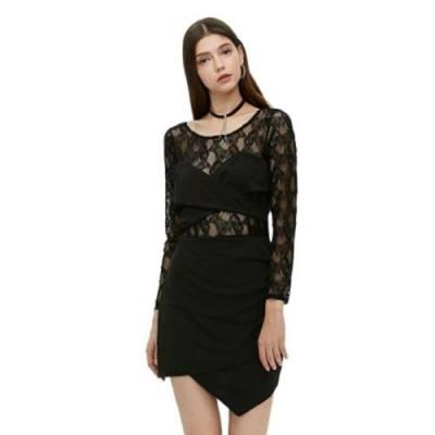 LONG SLEEVE ROUND COLLAR HOLLOW LACE SPLICED WOMEN DRESS (BLACK)