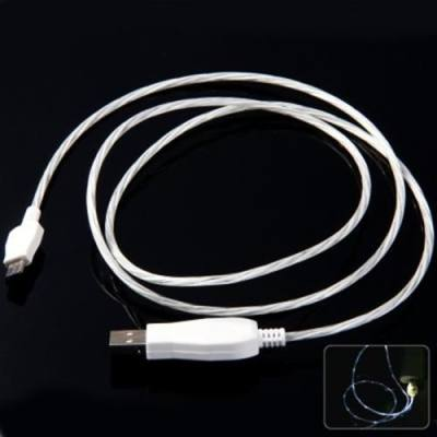 1M 2 IN 1 LED VISIBLE FLOWING CURRENT CHARGE SYNC LUMINOUS USB CABLE FOR MICRO 5PIN USB DEVICES (WHITE)