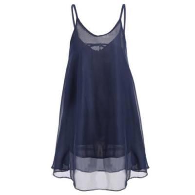STYLISH SPAGHETTI STRAP BACKLESS WOMEN DRESS (PURPLISH BLUE)
