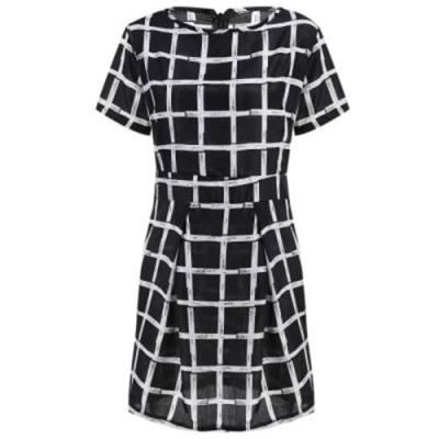STYLISH SHORT SLEEVE ROUND COLLAR PLAID PRINT WOMEN DRESS (BLACK)
