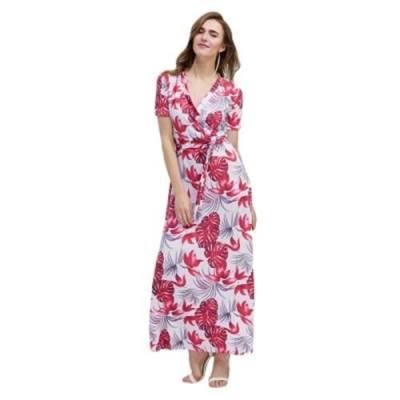 BOHEMIAN SHORT SLEEVE V NECK PRINT WOMEN DRESS (RED)