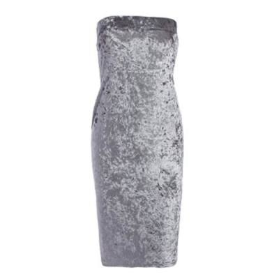 BRIEF SLEEVELESS STRAPLESS VELVET WOMEN DRESS (GRAY)