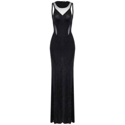 SEE-THROUGH SPLICED BEADED BACKLESS WOMEN MERMAID DRESS (BLACK)