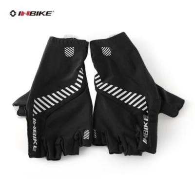 INBIKE PAIRED BREATHABLE ANTI-SKID HALF FINGER CYCLING GLOVES (BLACK)