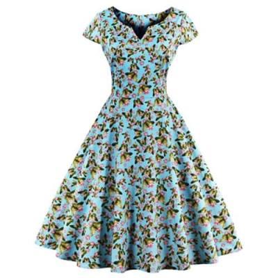 SHORT SLEEVE BUTTERFLY FLORAL PRINT A-LINE ZIPPER WOMEN DRESS (BLUE)
