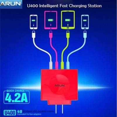 4 PORT INTELLIGENT USB FAST CHARGING STATION - 100 - 240V (CERISE)