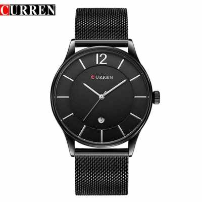 CURREN 8231 Men Quartz Watch Luxury Full Steel Band Waterproof Male Date Clock (Black)