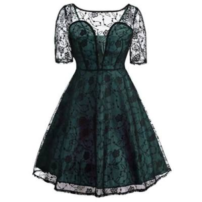 VINTAGE SEE THRU LACE FIT AND FLARE DRESS (LIGHT GREEN)