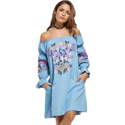 FLORAL PRINT OFF THE SHOULDER SHIFT DRESS (AZURE)