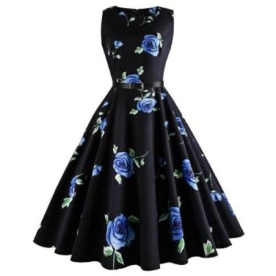 PLUS SIZE FLORAL PRINTED RETRO DRESS (BLUE)