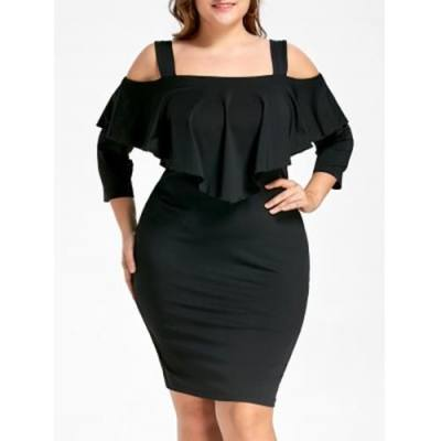 PLUS SIZE OVERLAY COLD SHOULDER SHEATH DRESS (BLACK)
