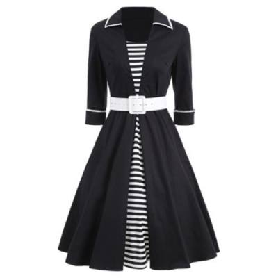 VINTAGE STRIPED PIN UP SKATER DRESS (BLACK)