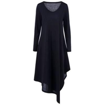 ASYMMETRICAL LONG SLEEVED TEE SHIRT MAXI DRESS (BLACK)