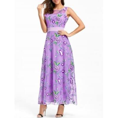 FLORAL EMBROIDERED MAXI PARTY EVENING DRESS (PURPLE)