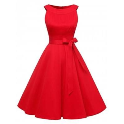 VINTAGE BELTED PIN UP SWING DRESS (RED)