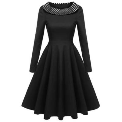 POLKA DOT LONG SLEEVE VINTAGE DRESS (BLACK)