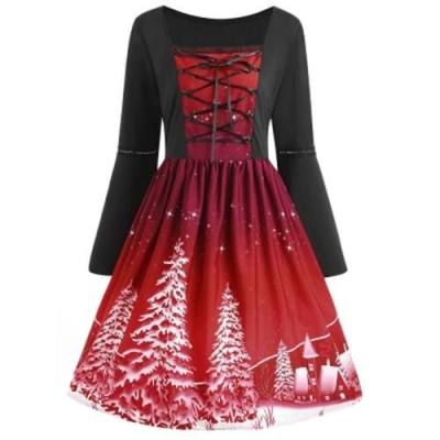 PLUS SIZE LACE UP CHRISTMAS TREE PRINT DRESS (WINE RED)