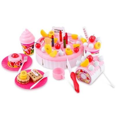 73PCS BIRTHDAY PARTY PLAY FRUIT FOOD CAKE FOR CHILDREN (PINK)