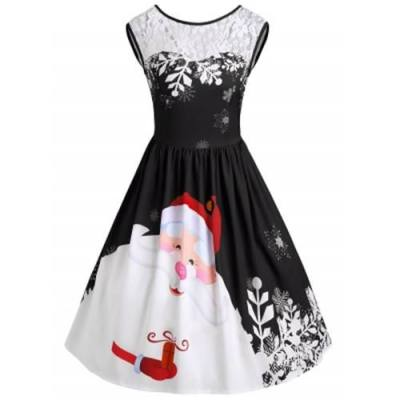 CHRISTMAS LACE INSERT SANTA CLAUS PRINT PARTY DRESS (BLACK)