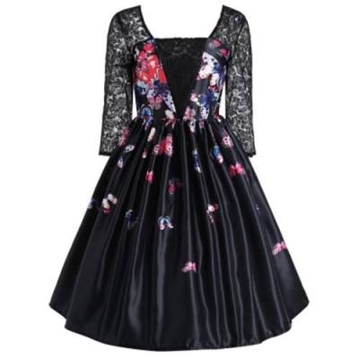 BUTTERFLY PRINT LACE PANEL VINTAGE DRESS (BLACK)