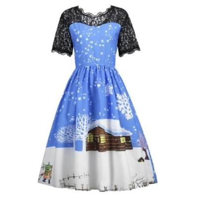 CHRISTMAS SNOW PRINT LACE PANEL DRESS (BLUE AND BLACK)