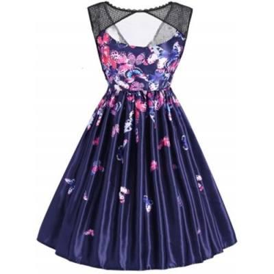 BUTTERFLY PRINT SLEEVELESS MESH PANEL VINTAGE DRESS (BLUE)