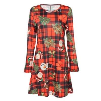 ROUND COLLAR LONG SLEEVE PLAID SANTA CLAUS WOMEN DRESS (RED)