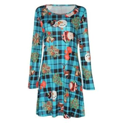 ROUND COLLAR LONG SLEEVE PLAID SANTA CLAUS WOMEN DRESS (BLUE)